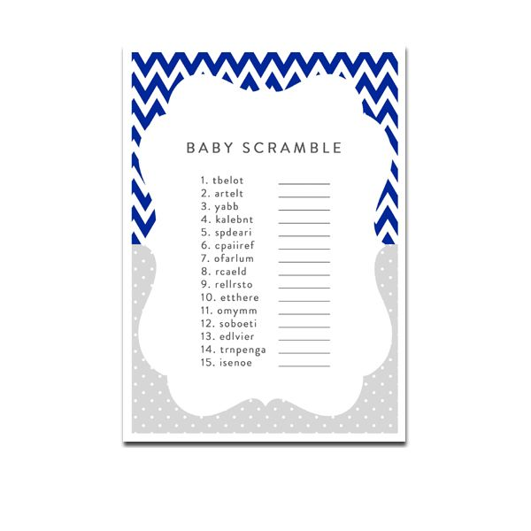 Baby Shower Game - Baby Scramble - Navy Blue Chevron - Instant Download Printable