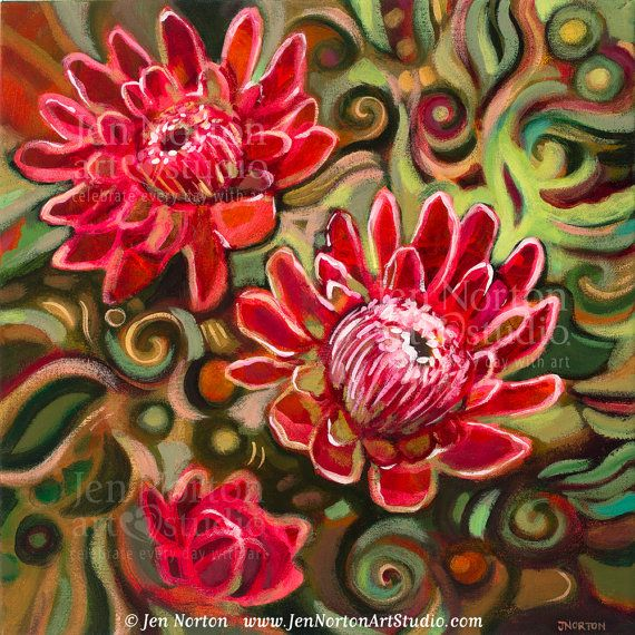 Jen Noerton art studio ,  protea flowers