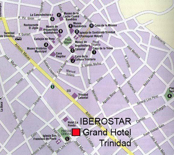 Map of Trinidad, Cuba