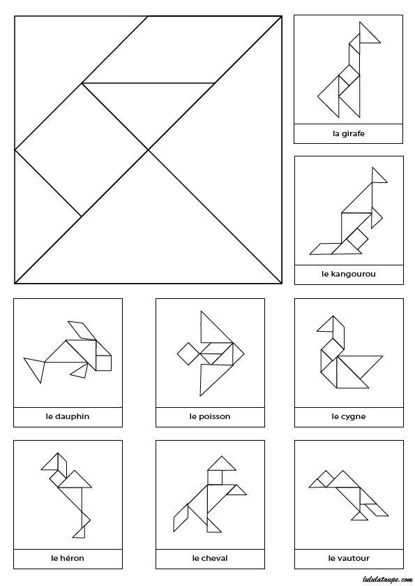 Tangram à imprimer et découper avec 8 modèles d'animaux en noir et blanc