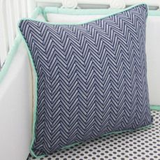 Navy and Mint Chevron Pillow