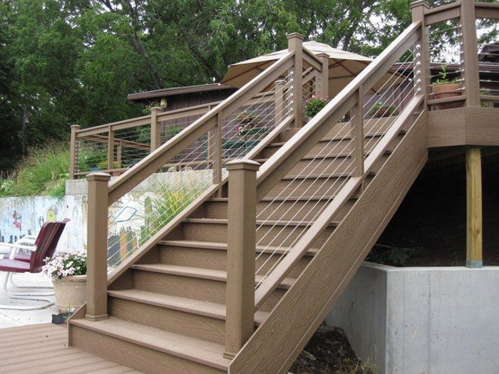 Lovely Metal Handrails For Deck Stairs. Mixing Wood With Stainless Steel Cable  Infill Offers A Unique