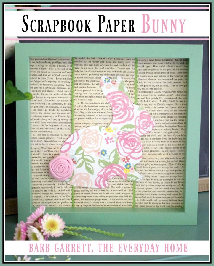 Scrapbook papers are an inexpensive way to create craft projects. The Everyday Home uses a cute floral paper to create a silhouette for this Bunny Art.
