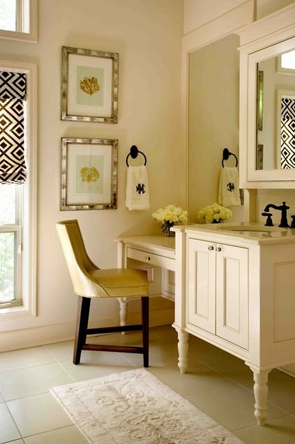 Want to turn a dresser into a sink like this!Decor, Ideas, Vanities Area, Romans Shades, Colors, Makeup, Bathroom Vanities, Sinks, Master Bathroom