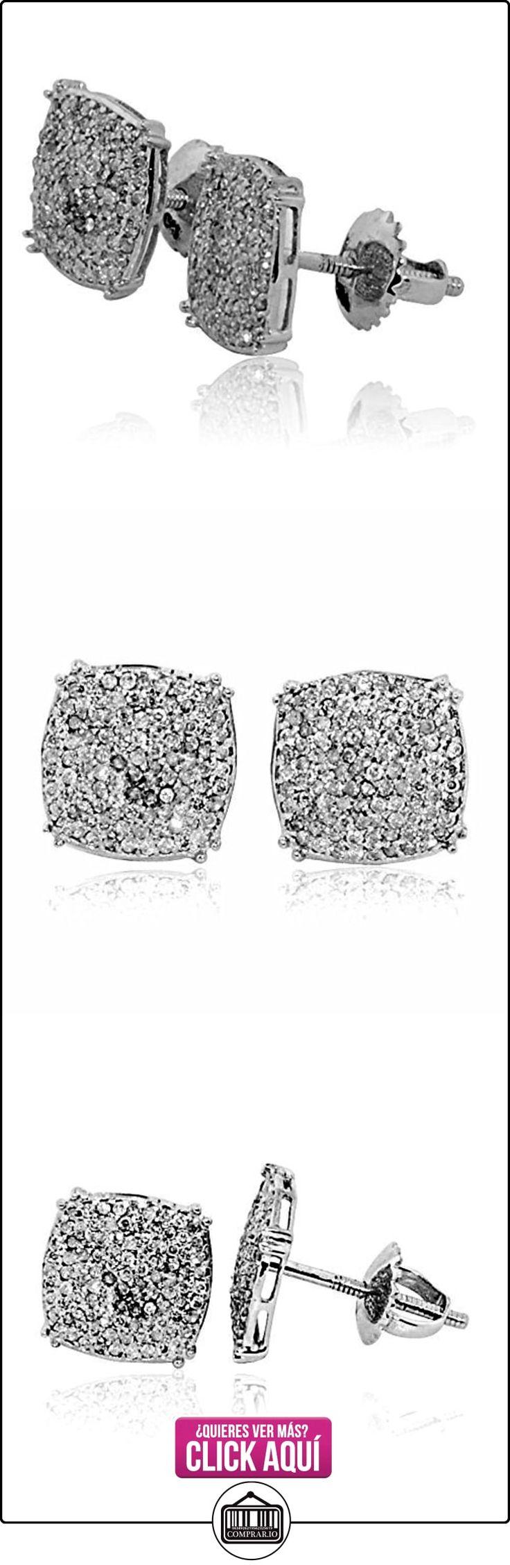 earrings-midwestjewellery Hombre Pendientes de diamante de oro blanco de 10K 0,3quilates Pave Set cusihion de 9,5mm de ancho  ✿ Joyas para hombres especiales - lujo ✿ ▬► Ver oferta: https://comprar.io/goto/B00ZO4ZE0I