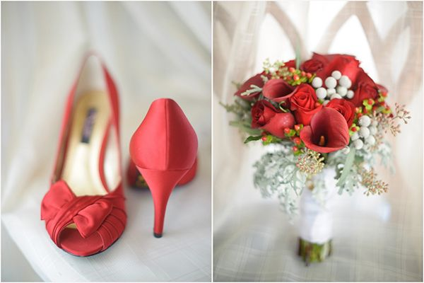red nina bridal shoes, red calla lily dusty miller red rose wedding bouquet, Luminaire Foto