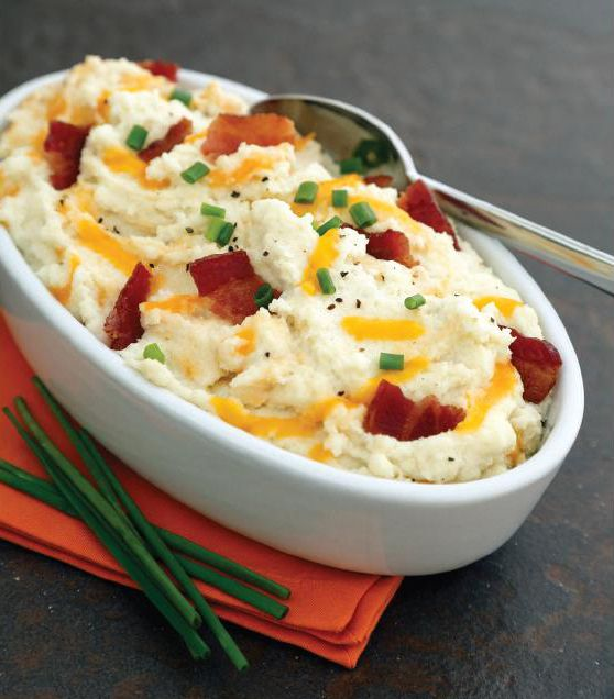 bacon and cheddar mock mashed potatoes. I really want to try this!!