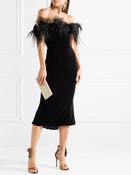 ac628f84de5 Off-the-shoulder feather-trimmed velvet midi dress – ZCRAVE