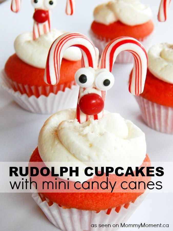 Let Rudolph's nose guide the way this Christmas with these Rudolph Cupcakes with mini candy canes