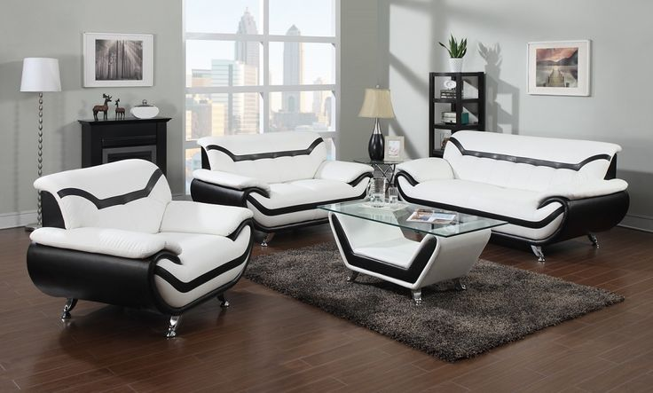 51155 Acme 2 Pc Rozene Collection Modern Style Black And White Bonded Leather Upholstered Sofa Love Seat Set This Includes The