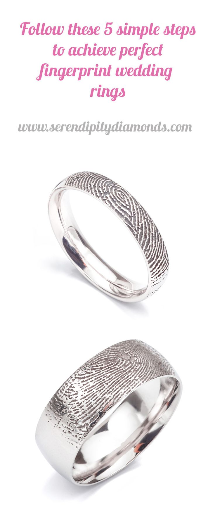 fingerprint wedding rings fingerprint wedding band Follow just 5 simple steps to achieve the perfect pair of uniquely engraved fingerprint wedding