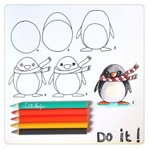 #drawing penguin scarf
