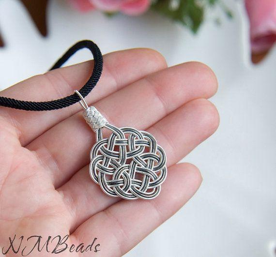 Fine Silver Celtic Sun Knot Pendant Necklace by NMBeadsJewelry