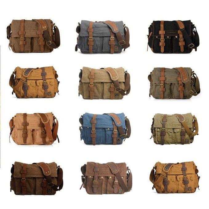 Men's Vintage Canvas Leather Messenger Shoulder Bag Military Satchel Hiking Bag #unbranded #MessengerShoulderBag