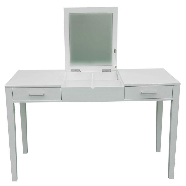 Lovely Bedroom Makeup Vanity #5 - White Vanity Table With Flip Up Mirror