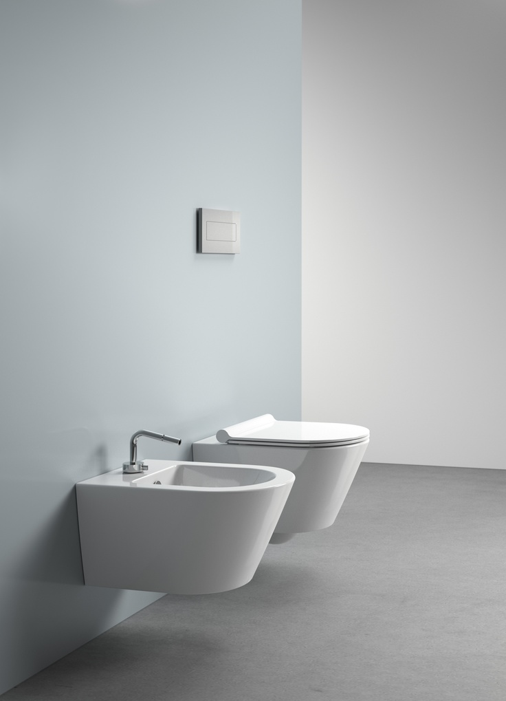 Zero 50_catalano's wcs and bidets  are marked by a minimalist shape, a large choice of size and by their versatility of combination. zero collection restyles the 50 cm wall-hung  wc and bidet and introduces a new floor-mounted 45 cm wc