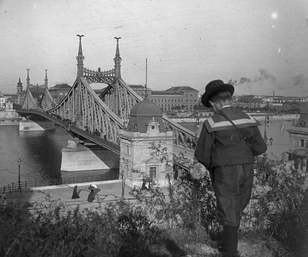 Budapest in the past // Szabadság (Ferenc József) híd a Gellérthegyről nézve.