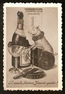 k. Old Latvia Holidays Greetings Happy Luck New Year 1st January photo postcard - Champagne Pig Cigar Wineglass Calendar | For sale on Delcampe