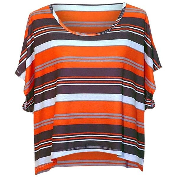 Orange Black & White Striped High-Low Short Sleeve Blouse Top ($13) ❤ liked on Polyvore featuring tops, blouses, orange, short sleeve tops, black white striped blouse, black and white striped top, short sleeve blouse and striped blouse