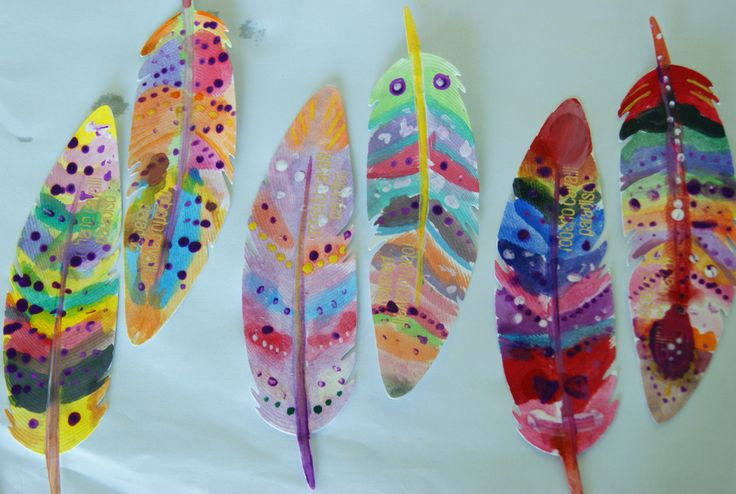Painted paper feathers (5-6 yo children)