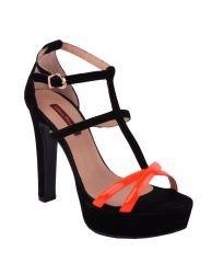 Chiara Ferragni neon suede sandalen Oranje