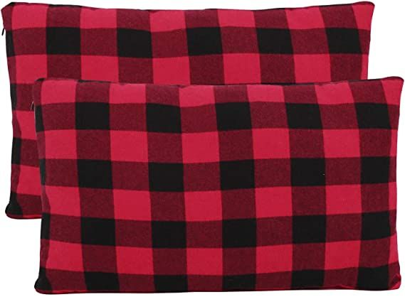 Redcamp Small Camping Pillow Lightweight And Compressible 1pc Flannel Travel Pillow With Removable Pillow Co In 2020 Camping Pillows Red And Black Plaid Travel Pillow