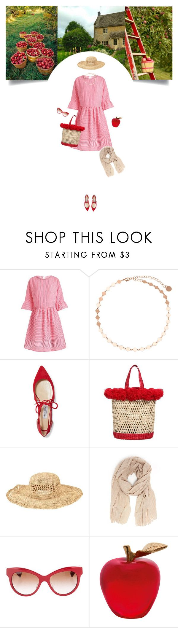 """""""Harvest Time: Apple Picking"""" by soledestate ❤ liked on Polyvore featuring Jimmy Choo, Nannacay, San Diego Hat Co., Faliero Sarti, Dolce&Gabbana, Daum and country"""