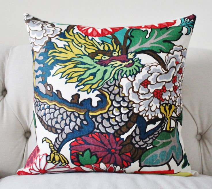 Alabaster Chiang Mai Dragon - Schumacher - Blue Turquoise Teal Coral Purple Pink Pillow - Designer Pillow Cover by MotifPillows on Etsy https://www.etsy.com/listing/230657203/alabaster-chiang-mai-dragon-schumacher