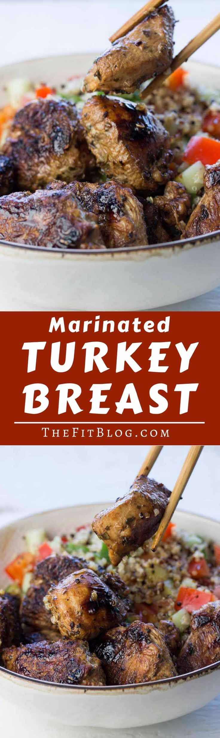 The best marinated turkey breast! This marinade is what takes turkey breast from being slightly boring to being absolutely delicious! | high protein | low carb | sugar free | gluten free | diabetes friendly | Paleo | via @TheFitBlog