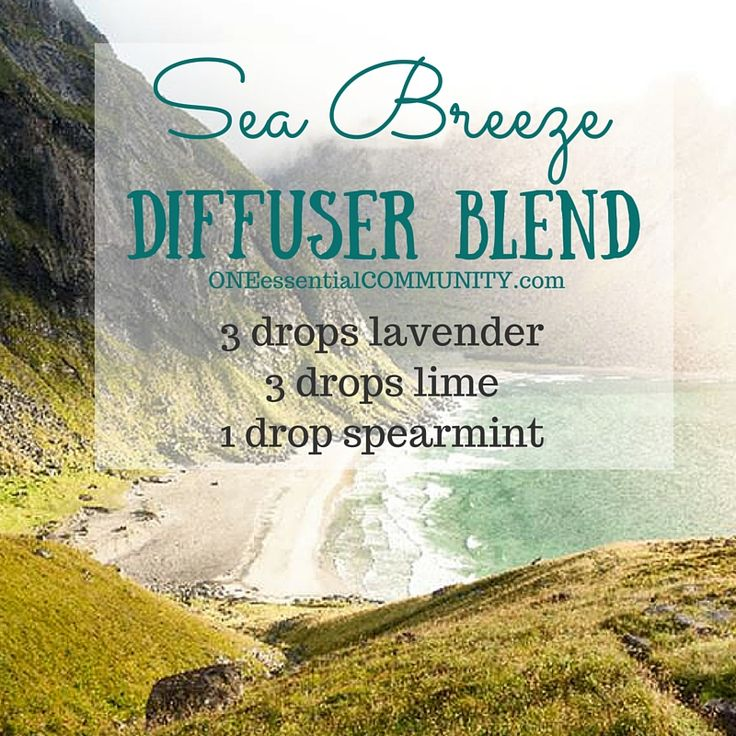 Sea Breeze essential oil diffuser blend with lavender, lime, and spearmint. The perfect way to relax and recharge! Lavender eases feelings of tension and anxiety.  Lime uplifts and refreshes as it balances emotions and well-being.   And spearmint's sweet, refreshing aroma is ideal to help clear the mind and evoke a positive mood.  Oh, and did I mention it smells heavenly?!  click for a FREE PRINTABLE of 20 more calming and relaxing diffuser blends
