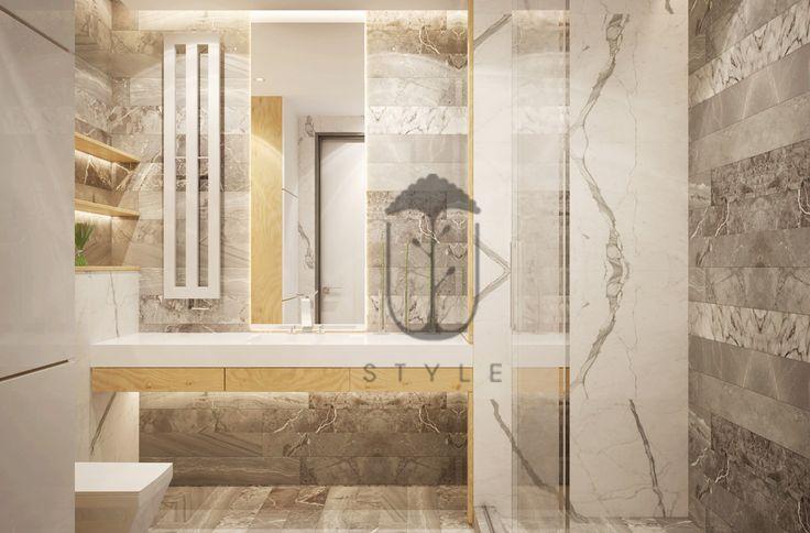 В ванной комнате вмонтированы скрытые системы хранения, которые позволяют скрыть внутреннее наполнение шкафов и при этом визуально не загружают пространство.