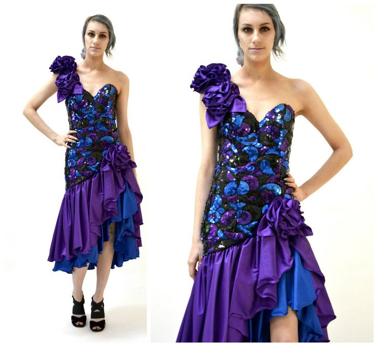 80s Prom Dress Small Purple and Blue Sequins// Vintage 80s Pageant Dress by Alyce Designs// 80s Metallic Prom Dress by Hookedonhoney on Etsy