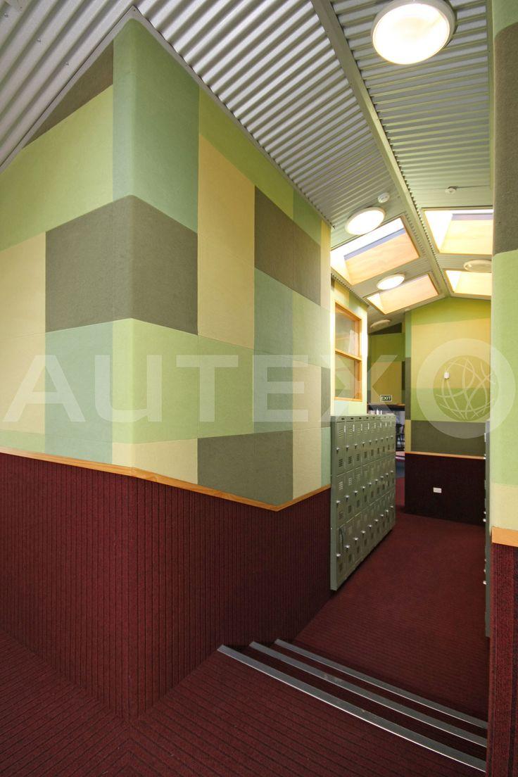 Autex Interior Acoustics - Composition® Peel'n'Stick - Cambridge Middle School, NZ - Colour: Wasabi, Jade, Lime & Fawn - Acoustics in Education