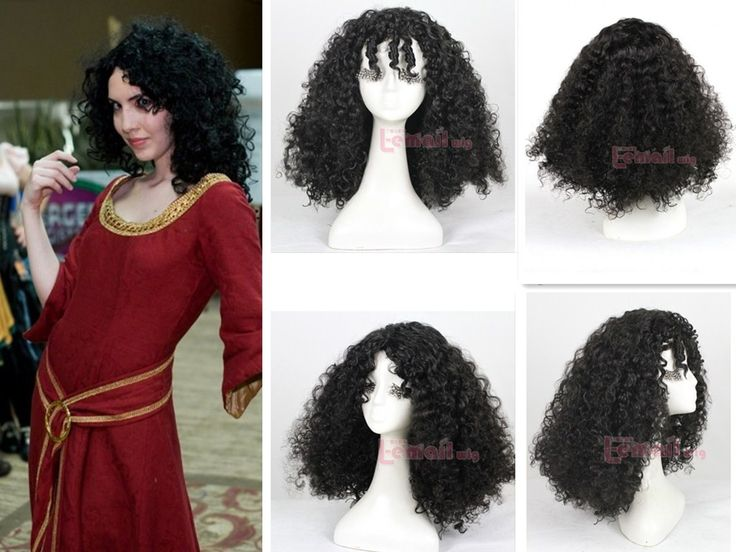 Curly Hair Costume Ideas : Cm long black rapunzel tangled mother gothel curly hair