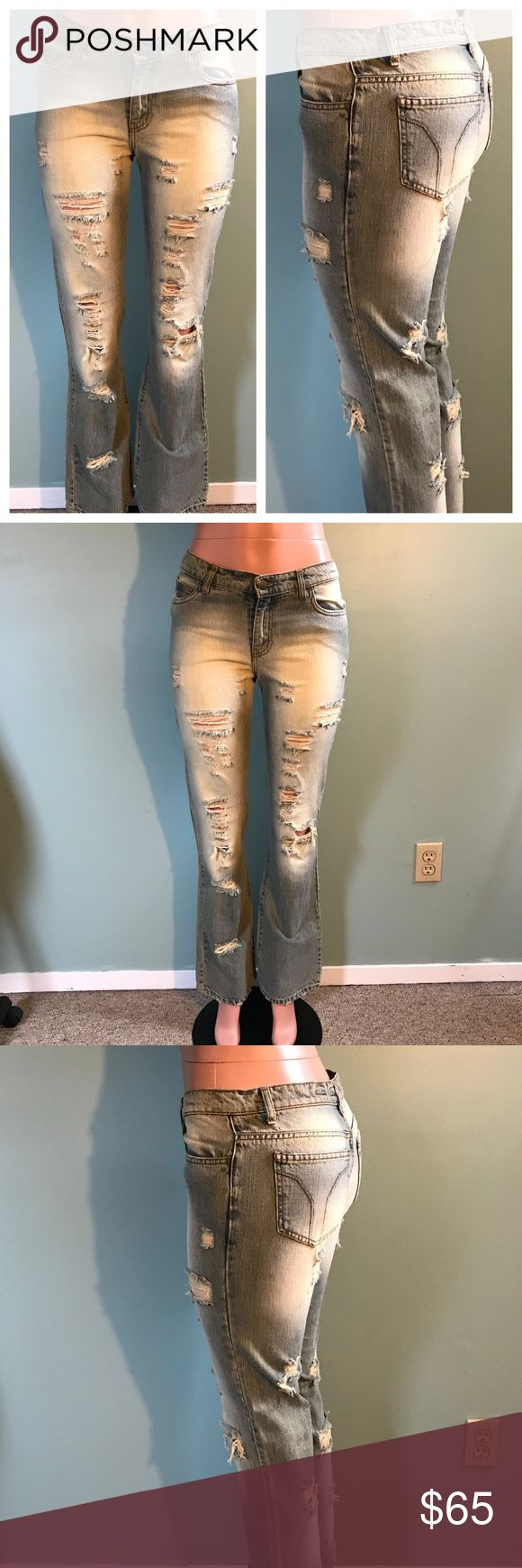"""MISS SIXTY Rare Destroyed Denim Bootcut Jeans 30 Too small for me. Size 30 but low fitting waist. Waist measures 15.5"""", rise is 9"""", and length is 32"""". Paid almost $200 for these, and they are very rare. Italian made by Miss Sixty. Destroyed look, super hot! Tags removed, never worn! Please ask any questions. Bundle discounts and daily shipping available. Happy Poshing! Miss Sixty Jeans Boot Cut"""