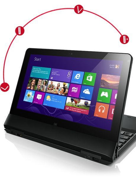 La ThinkPad Helix combina el rendimiento de una Ultrabook™ corporativa con la movilidad de una tablet. Además de sus 10 horas de duración de la batería y su interfaz fluída de Windows 8, Helix ofrece la posibilidad de elegir entre cuatro modos exclusivos para trabajar, compartir o navegar.