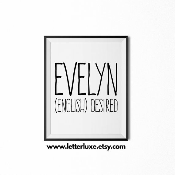 Evelyn Name Meaning Art  Printable Baby by LetterLuxePrintables