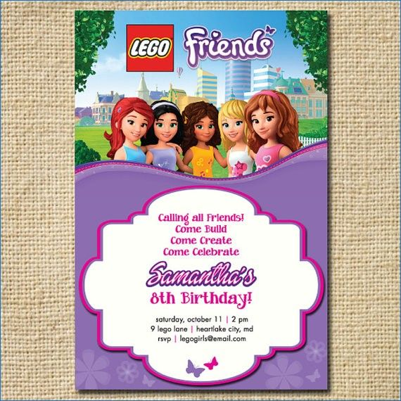 Lego Friends Birthday Invitation By Creativelime Party Template