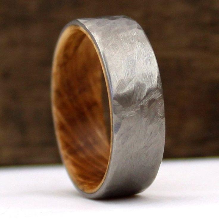 Whiskey Barrel Ring, Hamered Titanium