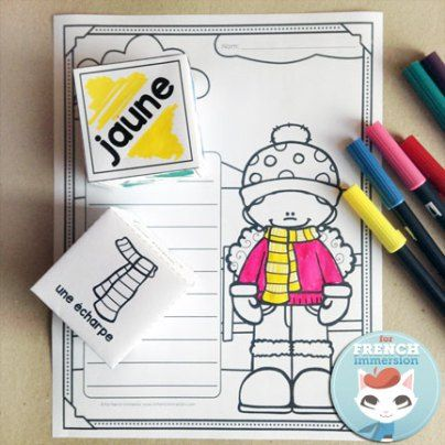 """FREE French winter clothing vocabulary coloring worksheet: roll and color – have students practice both vocabulary for """"les vêtements d'hiver"""" as well as color words!"""