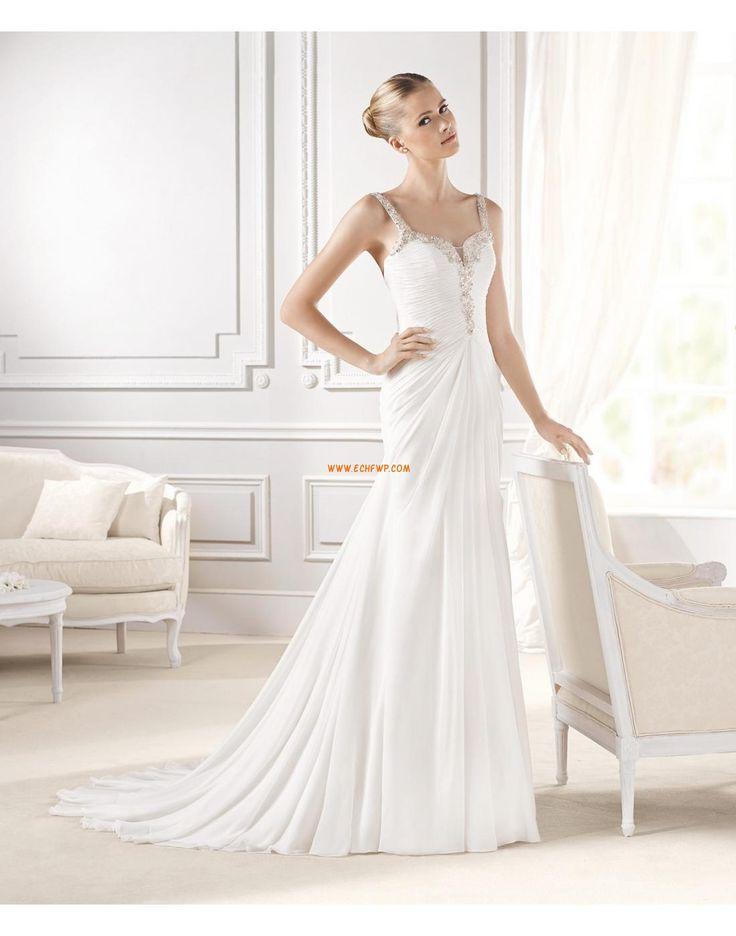 Sweep Släp Ärmlös Rynkad Bröllopsklänningar 2015