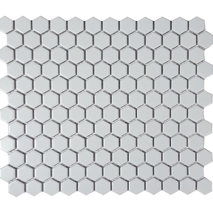 Check out the deal on Tesoro Solid White - Hexagon Matte 7/8 x 1 Mosaic at GBTile Collections