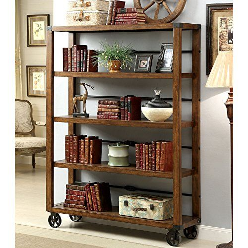 Rolling Wooden Bookcase With Fixed Shelves Featuring A