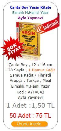 Çanta Boy Mealli Fihristli 128 Sayfa Yasin Kitabı / KOD : 043 / Ayfa Basın Yayın
