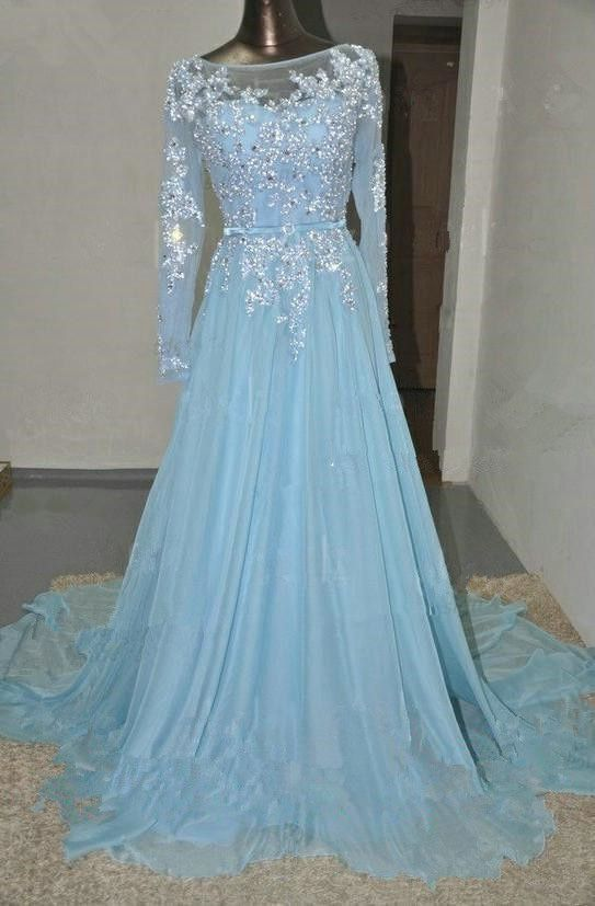 Pd578 Charming Prom Dress,Long Sleeve Prom Dress,A-Line Prom Dress,Appliques Prom Dress,Chiffon Prom on Luulla