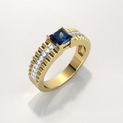 GOLD Art. 3D STORE: Men's ring with square gemstone