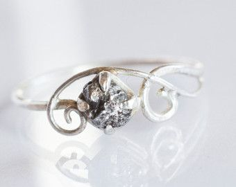 Meteorite Engagement Ring with 14K YellowGold and by MirielDesign Love meriorite