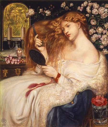 """Lady Lilith"" (1867), by Dante Gabriel Rossetti, at Metropolitan Museum of Art (model: Fanny Cornforth)."