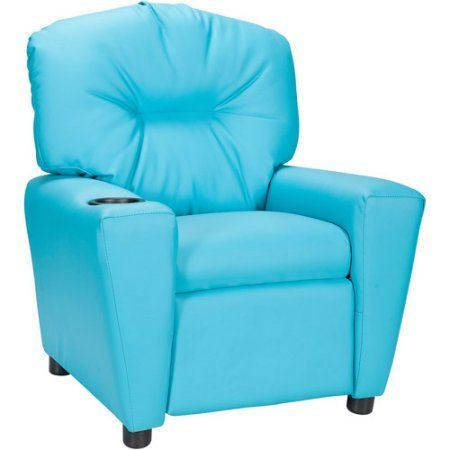 Flash Furniture Kids' Vinyl Recliner with Cup Holder, Multiple Colors, Blue