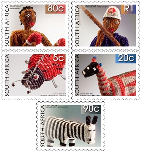 South African beadwork on stamps